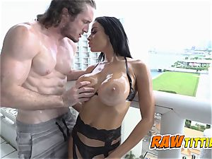 Victoria is oiled up and boned in doggie-style by insane fella