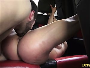 James Deen takes cougar Cherie Deville for a ride on his manhood in the car