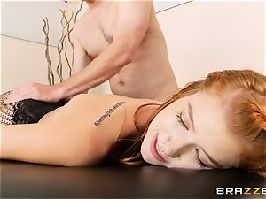 stellar red-haired Arya Fae bouncing on a huge sausage