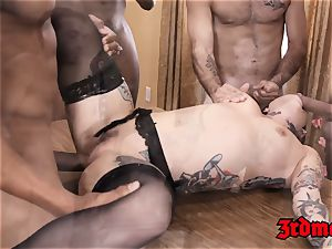 Succubus Joanna Angel gobbles big black cock fountain after group rectal