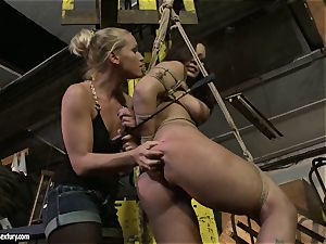 Kathia Nobili slapping the bum of steaming damsel with lash