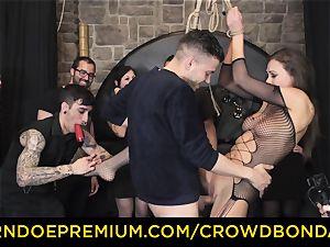 CROWD bondage - extreme sadism & masochism bang wheel with Tina Kay