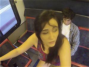 Anastasia ebony humps her man as the public observes on