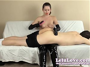 female domination spanking his booty with my hairbrush mitts..