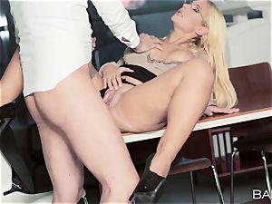 killer secretary Kyra super-fucking-hot fucks her work fucking partner