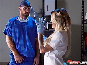 experienced medic porks slutty chesty nurse Kissa Sins on a health center sofa