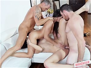 Lilly Hall and Audrey Royal swap daddies to bang
