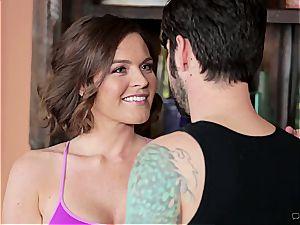 hefty breasted intimate trainer working his jizz-shotgun