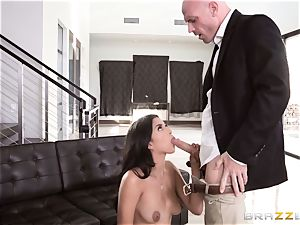Sophia Leone prone torn up nut sack deep by suspended Johnny Sins