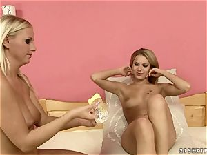 Tara pink with her horny buddy sitting on bed