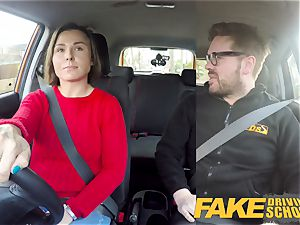 fake Driving school Jealous learner with superb titties