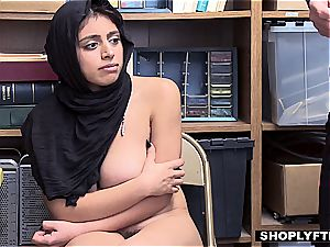 ample breasted hijab teenage gets a facial cumshot in the shop backoffice